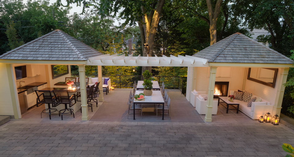 Photo slideshow of Artistic Gardens' design projects: dual gazebo with entertainment areas